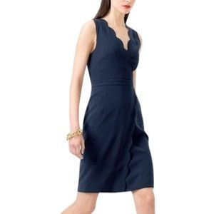 J. Crew Blue Scalloped Crepe Mini Dress Size 0